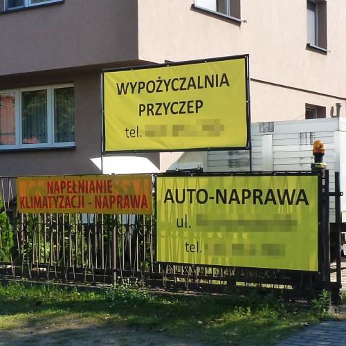 auta i przyczepy żółte szyldy
