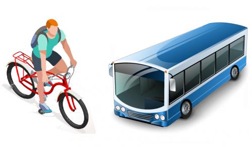 rowerzysta i autobus