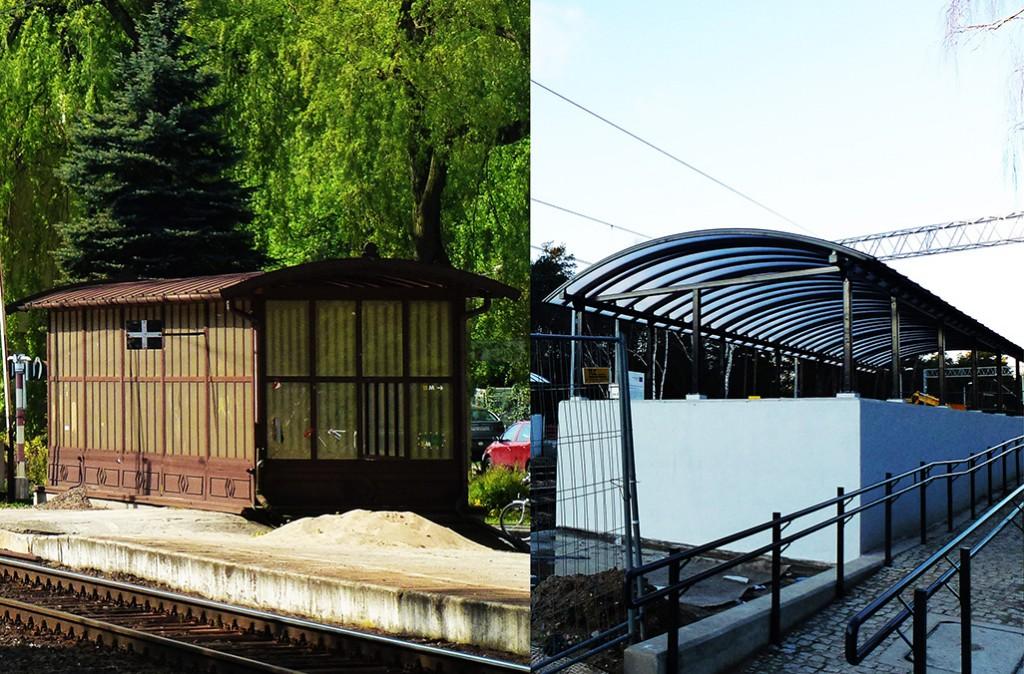 stara i nowa wiata przejścia podziemnego przy stacji Puszczykowo