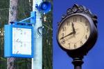 stylowy i niebieski zegar